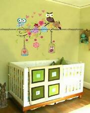 Cute Owl Wall Stickers Flowers Cages Tree Branch Art Decor Decal TV Lounge Bed