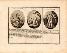 Stampa antica ETA' del FERRO FOLLIA PACE allegorie 1790 Old Print Engraving
