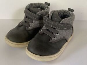 Cat & Jack Toddler Boy's Sz 6 Gray Leather Textile High Top Hiking Boots Shoes