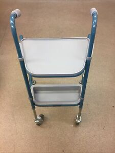 NRS Healthcare Duo Height Adjustable Walking Trolley, Turquoise Blue (D1)
