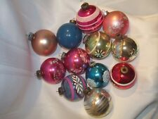 12 Vintage Christmas Ornaments Balls - Shiny Brite & Made In USA - Mica Stencil