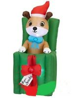 CHRISTMAS SANTA ANIMATED DOG PUPPY PRESENT  INFLATABLE AIRBLOWN 5 FT GEMMY
