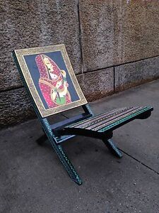 Vintage INDIA Hand-craft/Painted Decorative Gorgeous Art Wooden Chair/ Chaise