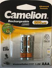 2 x Camelion Micro AAA 800 mAh Ni-MH Akku Telefon f Gigaset SX670 SX675 Batterie