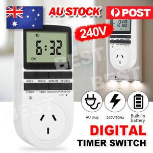 240V Digital Timer Switch Socket Electric Programmable Power AU Plug clock