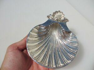 Vintage Soap Dish Holder Pot Silver Plated ESPN Shell Clam Antique Sugar Old