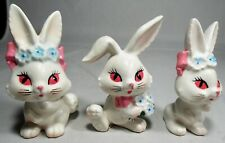 3 Lefton Bunny Rabbit Figurines 2967 Big Red Eyes & Lashes Blue Flowers Labels