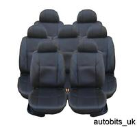 FULL SET BLACK PU LEATHER 7X SEAT COVERS FOR 7 SEATER VW SHARAN TOURAN