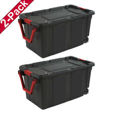 Sterilite 14699002 40 Gallon Wheeled Industrial Tote Case, Black - Pack of 2