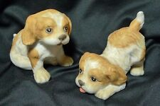 Homco Set of 2 Puppies Bisque Porcelain Figurines Cocker Spaniel #1407