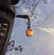Small Pumpkin Halloween Cell Phone Clip Charm~Dust Plug Cover~All Phones~
