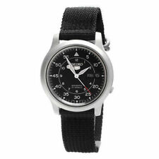 SEIKO SNK809K2 37mm Case Silver Steel, Band Black in Canvas, Men's Watch