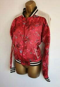 Billabong BNWT Two Way Street Velvet Red Floral Bomber Jacket S 8-10 Rare