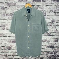 Nat Nast Men's Silk Cotton Short Sleeve Button up Shirt Gray Size Large