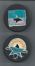 1995 & 1997  NHL All-Star Game  San Jose CA  2-Souvenir Hockey Puck Lot
