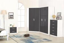 Reflect High Gloss Grey / White 4 Piece Bedroom Furniture Plain Set Soft Close