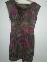 Great Plains Flowers Purple Pink Khaki mini tea dress Size Small Floral Skater