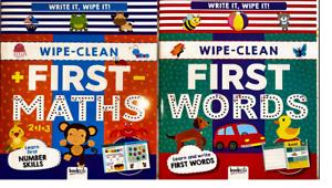 Wipe Clean Books 3+ Write it Wipe it First Maths & Words Preschool new learner