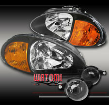 93 94 95 HONDA DEL SOL CRYSTAL BLACK HEAD LIGHT+AMBER CORNER+BUMPER FOG LAMP KIT