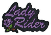 Motorcycle Jacket Embroidered Patch - Lady Rider (Purple) - Female Bikers, Women