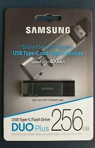 Samsung® DUO Plus 256GB USB 3.1 / USB Type-C Flash Drive Speed up to 400MB/s NEW