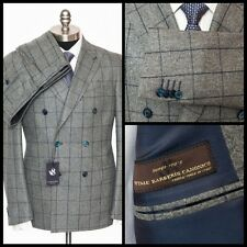 SARTORE Gray Windowpane Super 100s Wool Double Breasted Peak Suit 50 40 R NWT!