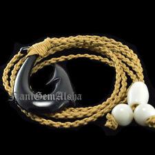 HAWAII Hawaiian Jewelry Buffalo Bone Black Fish Hook Pendant Choker Necklace
