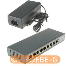 DSLRKIT 48V 120W 9 Ports 8 PoE Injector Power Over Ethernet Switch 4,5+/7,8-