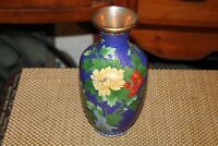 Chinese Cloisonne Vase Blue Patterns Multi Color Flowers Birds