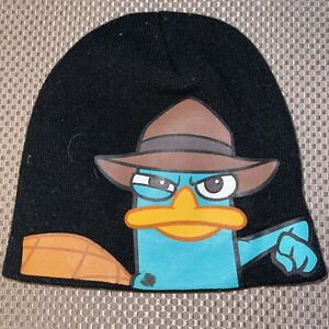 AGENT P Phineas and FERB Logo Embroidery Knit Beanie Cap Hat Black One Size Fits