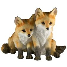 """Two Fox Pups Kits Figurine 4"""" High Detailed Polystone Statue New In Box"""