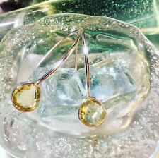 Genuine 925 Sterling Silver Lemon Quartz Gemstone Drop Earrings