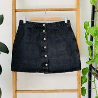 Dotti Womens Faded Black Button Up High Waisted Denim Skirt Size 12 100% Cotton