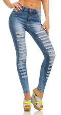 Sexy Damen Jeans Röhre Skinny Damenjeans Stretch Denim Destroyed Cut-Outs Risse