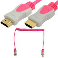 2m 6Ft Spiral Coiled HDMI to HDMI Male Adapter Converter Cable HDTV 3D 1080P 4K