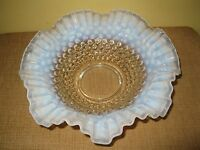 """Large Fenton Glass Hobnail Opalescent Moonstone White Clear Ruffled Bowl 10.5"""""""