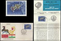 Soyuz Russia Inde Manned Flight joint issue  FDC fldr 1984 Weltraum Espace USSR