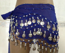 Chiffon Belly Dance Hip Scarf 3 Rows Belt Skirt Gold/Silver Coins for KIDs Girls