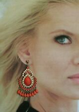Vintage Chandelier Earrings Orange Dangle Pierced Jewelry Runaway large Fashion