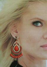 Vintage Chandelier Earrings Orange Dangle Pierced Jewelry Runaway large Fashion