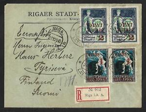 LATVIA TO FINLAND 2 PAIRS ON COVER 1920 SCARCE