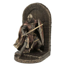 Armored Maltese Crusador with sword and shield guarding door bookend home decor
