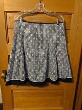 Dressbarn Size 12 Skirt Black White Plaid Eyelet Lace Aline