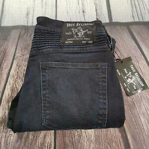 Men's True Religion Jeans 32 x 32 Rocco Moto Skinny Leg Navy Blue RRP £199 BNWT