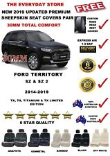 FORD TERRITORY SZ/SZ2 14-19 Upgrade Sheepskin Seat Covers Pair Airbag Safe 30MM