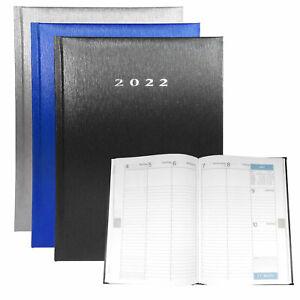Wochenkalender 2022 DIN A5 Terminplaner Wochentimer Metallic-Look Anthrazit blau