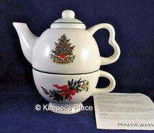 Pfaltzgraff Tea For One Pot CHRISTMAS HERITAGE Tree 3 Pieces Brand New Retired