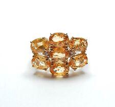 9 Carat Yellow Gold Large Citrine & Diamond Cluster Ring 4.1g UK Size O