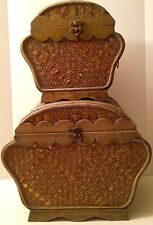 Unique Pair of Antique Nesting Baskets, Wicker Woven, Brass Colored Banding