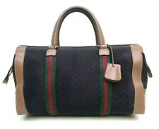 GUCCI GG CANVAS LEATHER WEB DUFFEL LARGE BOSTON SATCHEL BAG